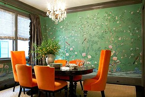 jade decor dining orange walls decorating via verdant palette shades spring wall decoist paint chairs bedroom painted colors curtains verde