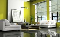 modern lime green living room - Decoist