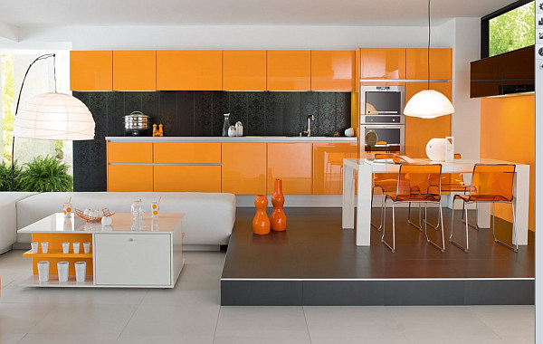 Charming Modern Orange Kitchen Decor With Brown Wooden Cabinet And Painted Wall Also Chrome Mount Hood Plus Gas Range