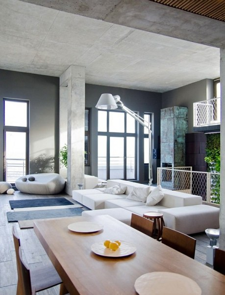 modern loft living room Contemporary Loft in Kiev Stuns with Industrial Design