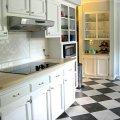 Black and white kitchen tile 2016 grasscloth wallpaper