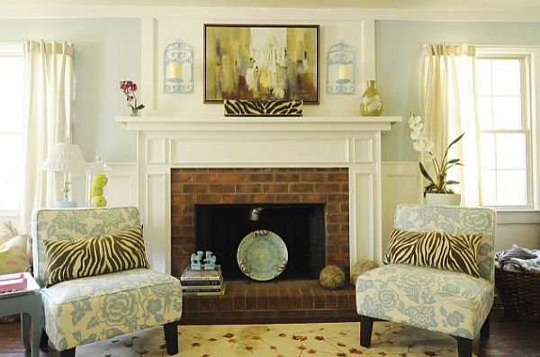 Pillar Candle Holders For Fireplace Fireplace Design Ideas Bright Traditional Living Room With Decorated Mantle