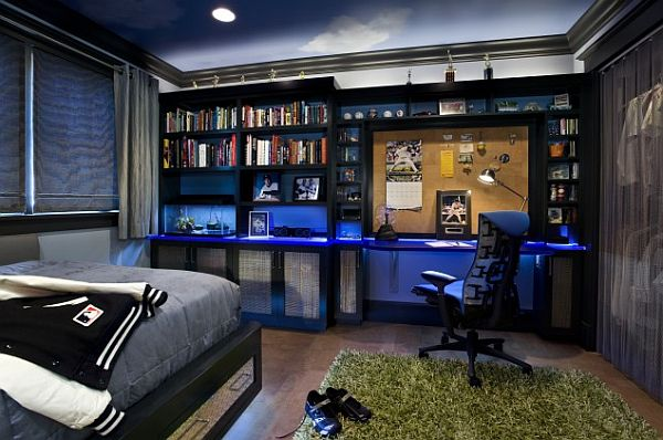 Contemporary Teens Boy Bedroom With Beautiful Bookcase