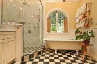 dream bathroom design with checkered flooring - Decoist