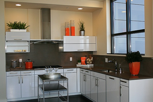View In Gallery Luxury White Kitchen Decor With Orange Accessories As Seen On Tv Diy Pros Share Tips