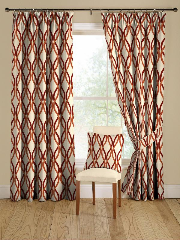 red and orange modern geometric curtains  Decoist