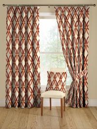 red and orange modern geometric curtains - Decoist