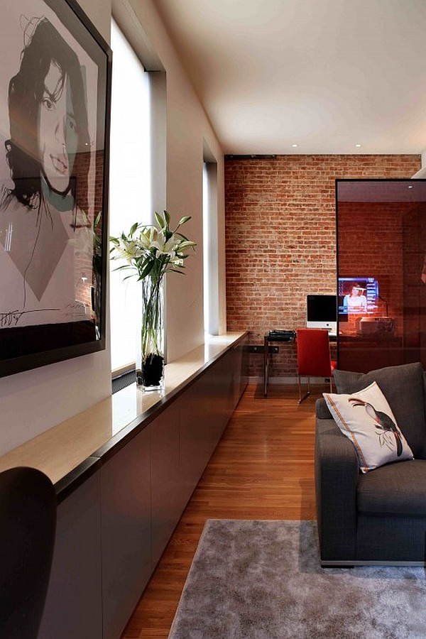 ultra modern living room and home office  Decoist