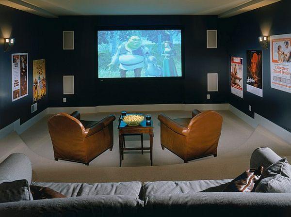 cozy media room design  Decoist