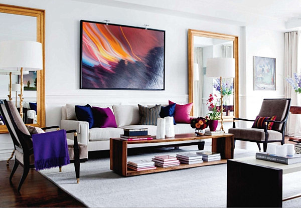 Jewel Tone Decor Vibrant Pillows and Throws in Neutral White and Wood Living Room Abstract Oversized Mirrors