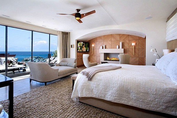 modern bedroom with ocean view California Beach House Spells Luxury and Class