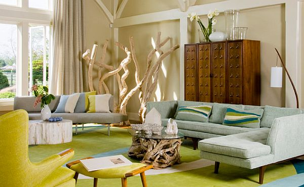 yellow and brown living room decorating ideas dark wood floor how to decorate your home with color pairs view in gallery grey couch green carpet chair