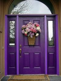 Purple front door design - Decoist