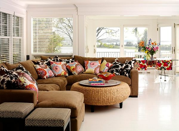 white curved sectional sofa fur throws colors and fibers that express home-style love