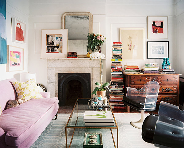 desk in living room apartment yellow chairs 10 small urban decorating ideas view gallery a stack of books chic