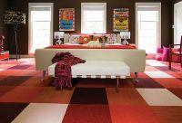 Colorful living room carpet tiles - Decoist