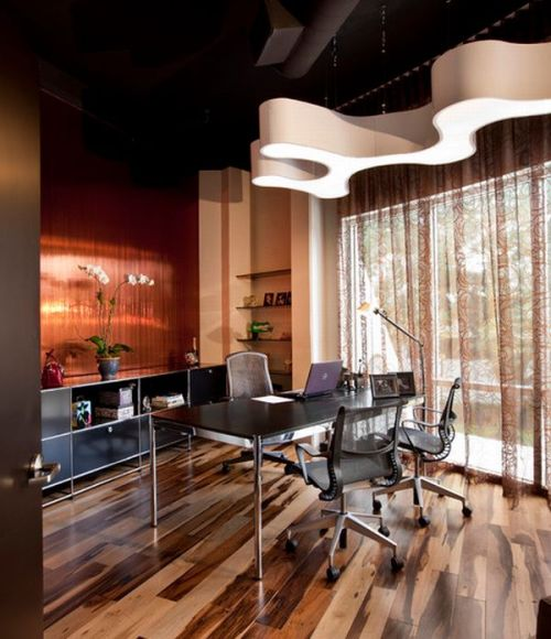 Wood Flooring Modern Office with Brazilian Pecan Hardwood Floors Flowers Black Cabinets and Desk