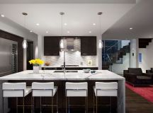 Modern kitchen remodeling with island as dining table ...