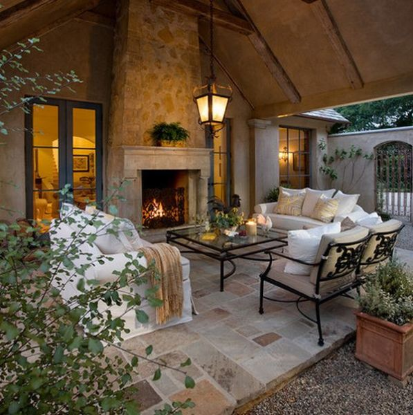 outdoor living space with fireplace 40 Stone Fireplace Designs From Classic to Contemporary Spaces