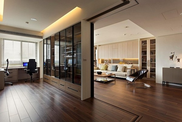 Modern apartment with retractable glass walls for home