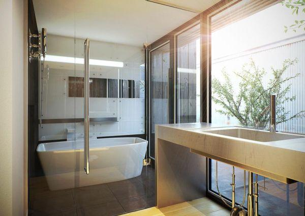 Minimalist white Japanese contemporary bathroom  Decoist