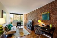 real exposed brick wall living room