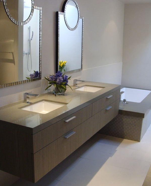 27 floating sink cabinets and bathroom