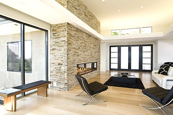 contemporary living rooms with fireplaces room decor ideas using grey stone add warmth and style to the modern home view in gallery fireplace a