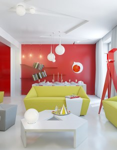 View in gallery modern living room with red walls and green couches also how to decorate your home color pairs rh decoist