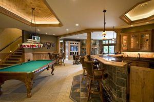 rec basement recreation bar rooms rustic theater designs fancy traditional elegant houzz amazing decorating decor tile interior decoist entertainment idea