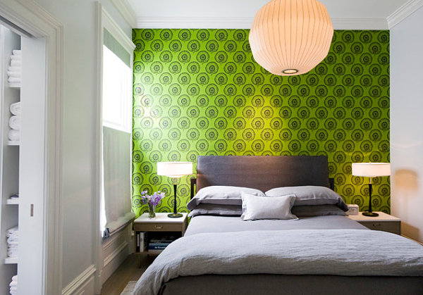 lime green and red living room ideas paint for rooms 20 eye-catching wallpapered