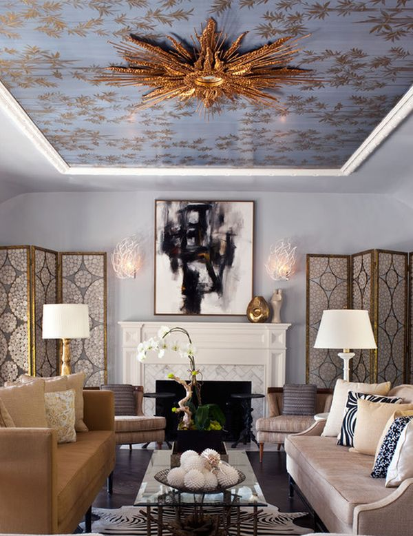 ceiling designs for living room small rooms with sectional sofas 33 stunning design ideas to spice up your home view in gallery gold leafed starburst mirror on the steals show this royally styled study
