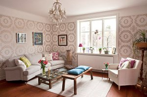 living rooms wallpapered catching eye lacy pattern