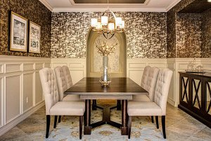 dining rooms wallpapered ornate catching eye sophisticated table walls modern brown wainscoting interior feature before designs brilliant ridge desert dinning