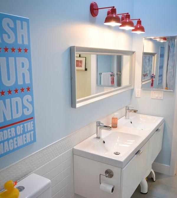 View In Gallery Sleek Modern Kids Bathroom With Interesting Lighting Choice