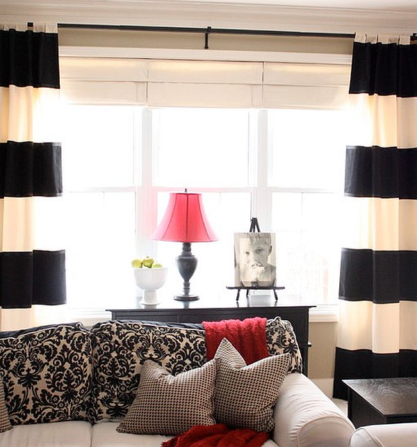 white curtains for living room wall colors rooms 2016 creative black and patterned curtain ideas view in gallery contrast with other home accessories