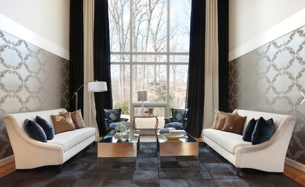 black and white curtains for living room top paint colors 2017 creative patterned curtain ideas view in gallery dramatic