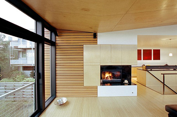 red kitchen chairs master forge outdoor sleek corner fireplaces with modern flair
