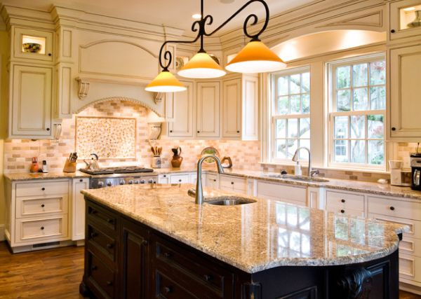 kitchen island light polished brass faucet 55 beautiful hanging pendant lights for your with a traditional touch above glazed marble