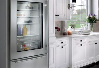 Glass Door Refrigerator In Kitchen
