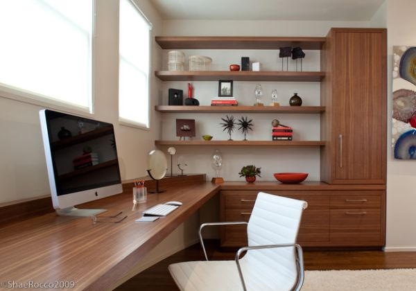 Modern home office with corner shelves that make a beautiful display