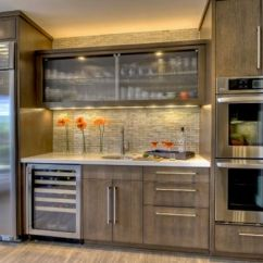 Kitchen Glass Cabinets Decor Styles 28 Cabinet Ideas With Doors For A Sparkling Modern Home Reeded In The Center Offers Textural Contrast This Space