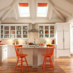 Orange Kitchen Chairs Rustic Pendant Lights Decorating With Accents Inspiring Interiors Airy White Employs Skylights Blinds Along In Similar Hue