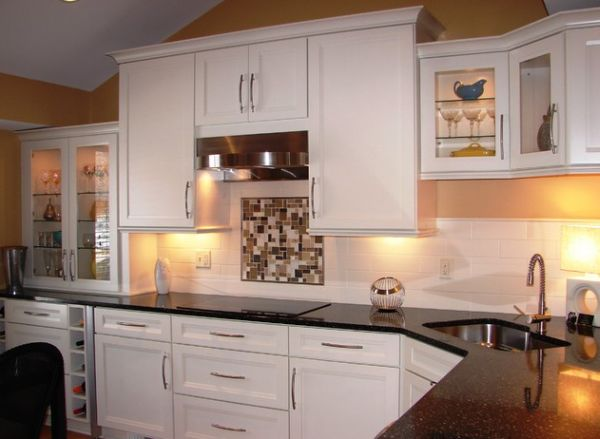 kitchen corner sinks moen faucet leaking design inspirations that showcase a different compact sink in with dark countertop and white cabinets
