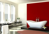 Red accent wall in the bathroom