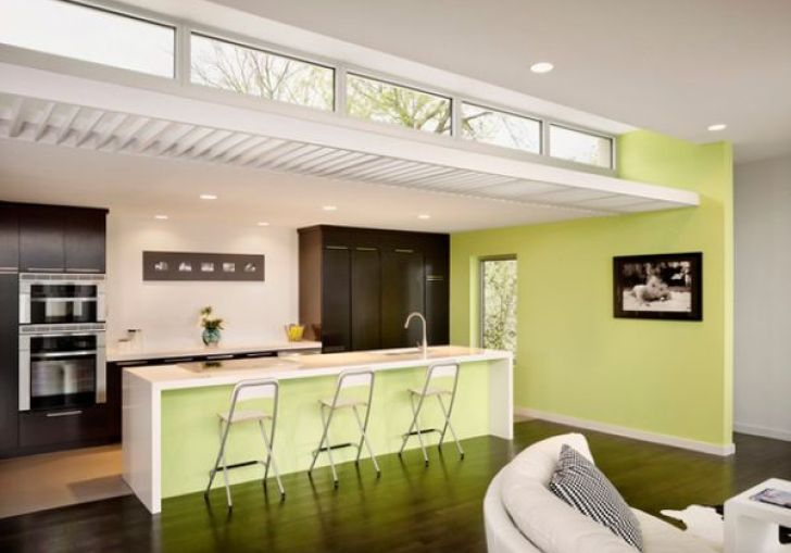 White Kitchen Cabinets With Green Accents