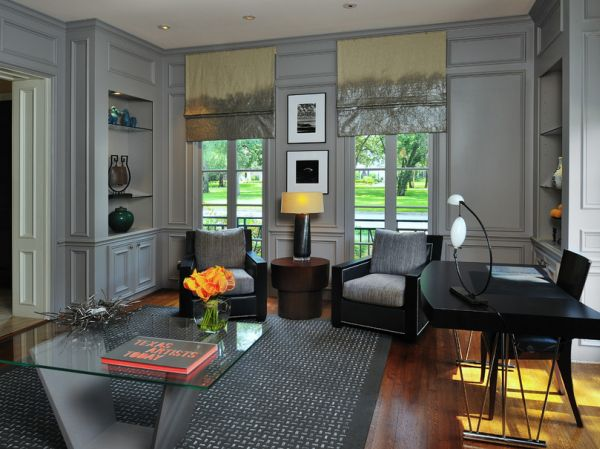 dark grey home office Fifty Shades of Grey: Design Ideas and Inspiration
