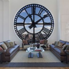 Living Room Wall Clocks Television Tables Furniture Striking Can Give Your Home A Timeless And Dynamic Allure View In Gallery Awesome Of The Clock Tower Penthouse Brooklyn