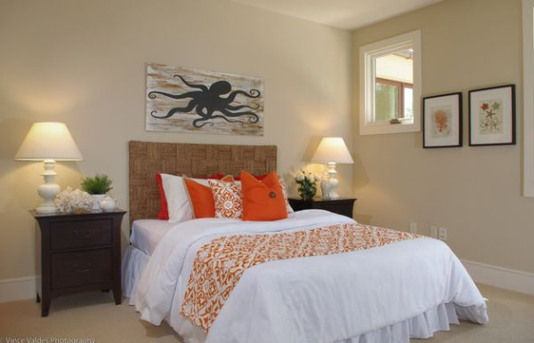 sunset orange for accent wall bedroom Accent Couch And Pillow Ideas For A Cool Contemporary Home