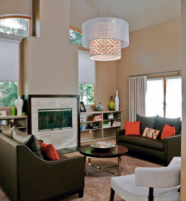 mediterranean living room carpet rugs brilliant drum pendant lights add intrigue to your ...